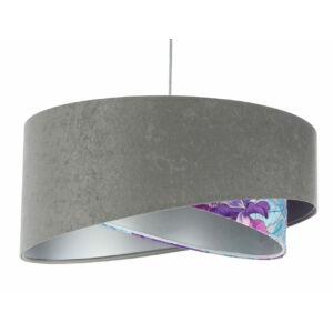 Bps - Galaxy - Artis Aszimmetrikus  Függeszték lámpa - 50 cm - szürke/színes virágmintás