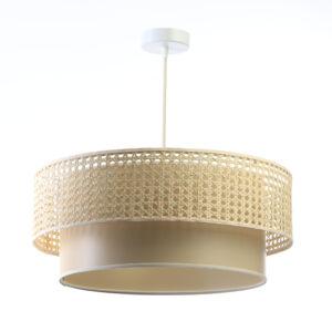 Bps - rattan függeszték lámpa, dupla, bézs-40cm