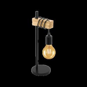 Asztali lámpa E27 1x10Wfekete/tölgyTownshend