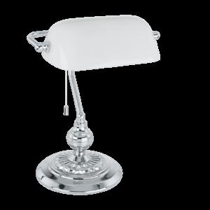 EGLO asztali lámpa 1x60W E27 króm/fehér Banker 13953