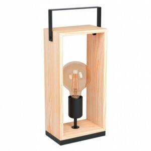 Eglo Asztali lámpa E27 1x40W fekete/fa Famborough