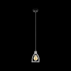 Függeszték E27 1x60W ezüst/fek Wraxall