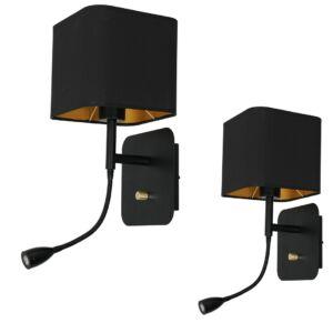 Milagro - NAPOLI BLACK fali lámpa fekete, olvasókarral