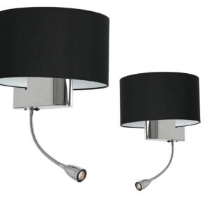 Milagro - CASINO BLACK - Fali lámpa fekete, olvasókarral