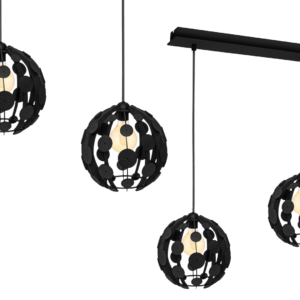 Milagro - GAIA - függeszték lámpa 3-as fekete-fa 3xE27 60W
