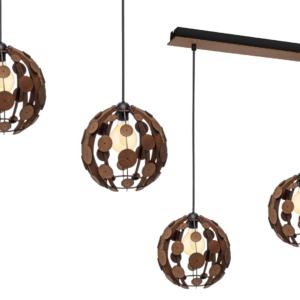 Milagro - GAIA - függeszték lámpa 3-as barna-fa 3xE27 60W