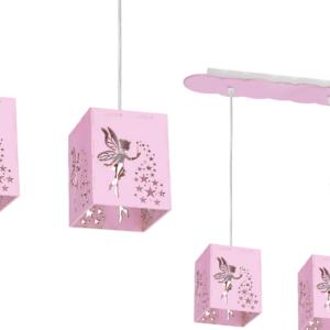 Milagro - FAIRY - gyerekszobai függeszték lámpa 3-as rózsaszín 3xE27 60W