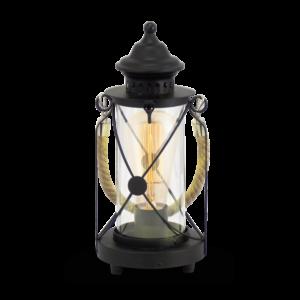 Asztali lámpa E27 60W fekete/üveg Vintage