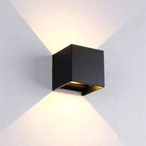 969 led fali lámpa szögletes fekete 2X5W 4000K IP54 - Elmark