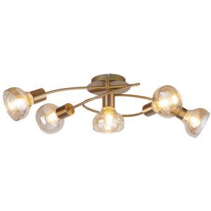 Holly, 5 fejű mennyezeti lámpa, borostyánszínű üveggel, fényforrás nélkül - Rábalux