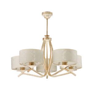 KASZMIR - Jupiter - függeszték lámpa 5xE27/60W - fehér; arany; patinás