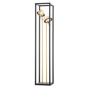 PLANET - Jupiter - ArtDeco, Modern 2 búrás Állólámpa - fekete, patinás réz, borostyán - 2xG9/LED