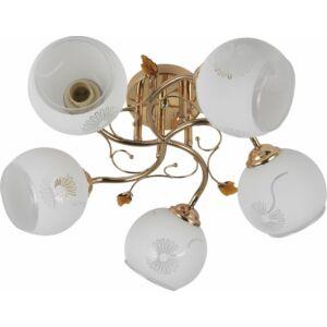 APACA - Klausen - 5 búrás, klasszikus mennyezeti lámpa - üveg/fém - arany/fehér - IP20 - 5xE27