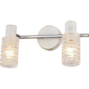 BARRED - Klausen - 2 búrás vintage, antikolt falikar - üveg/fém - füstös üveg/króm/fehér - IP20 - 2xE14, 2x7W