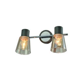 BERG - Klausen - Modern, 2 búrás, átlátszó falikar - üveg/fém - füstös/króm/szürke- IP20 - 2xE27