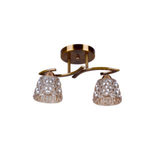 BRONZE - Klausen - 2 búrás klasszikus, kristály hatású, díszített mennyezeti lámpa - üveg/fém - bronz - IP20 - 2xE27, 2x11W