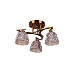 BRONZE - Klausen - 3 búrás klasszikus, kristály hatású, díszített mennyezeti lámpa - üveg/fém - bronz - IP20 - 3xE27, 3x11W