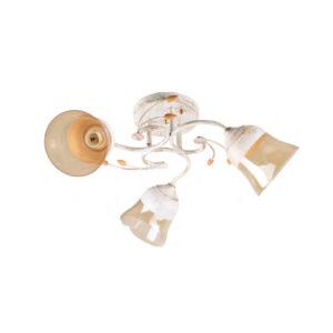 DORIA - Klausen - 3 búrás vintage, díszített mennyezeti lámpa - üveg/fém - antik fehér/szürke - IP20 - 3xE27, 3x11W