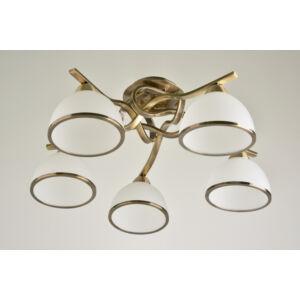 EGGO - Klausen - 5 búrás, klasszikus mennyezeti lámpa - üveg/fém - fehér/bronz - IP20 - 5xE27