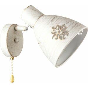 FUNNEL - Klausen - Vintage fehér falikar húzókapcsolóval - üveg/fém - antik fehér - IP20 - 1xE27, 1x11W