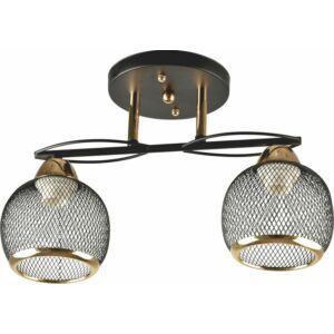 FALL - Klausen - 2 búrás steampunk stílusú, rácsos mennyezeti lámpa - üveg/fém - fekete/arany - IP20 - 2xE27, 2x11W