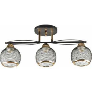 FALL - Klausen - 3 búrás steampunk stílusú, rácsos mennyezeti lámpa - üveg/fém - fekete/arany - IP20 - 3xE27, 3x11W