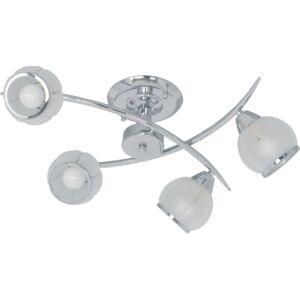 GLORIA - Klausen - Modern, 4 búrás krómozott díszítésű mennyezeti lámpa- üveg/fém - fehér/króm - IP20 - 4xE14