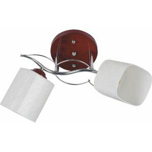 HAZE - Klausen - Modern, 2 búrás falikar cseresznyefa színű talapzattal - üveg/fém - fehér/borostyán/cseresznyefa- IP20 - 2xE27