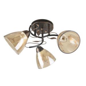 JODY - Klausen - 3 búrás naturális mintákkal díszített falikar - üveg/fém - antik barna/borostyán - IP20 - 3xE27