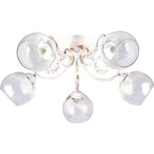 JOYCE - Klausen - 5 búrás, vintage, antikolt, díszített mennyezeti lámpa - üveg/fém - antik fehér- IP20 - 5xE27, 5x11W