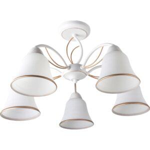 KELLY - Klausen - 5 búrás, elegáns, alabástrom mennyezeti lámpa - üveg/fém - fehér/arany - IP20 - 5xE27, 5x11W