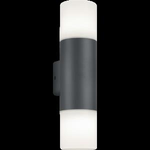 ASCOT - Klausen - 2 búrás, modern kültéri fali lámpa - aluminium/polikarbonát - opál fehér/ezüst - IP44 - 2xE27, 2x11W LED