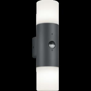 ASCOT - Klausen - 2 búrás, modern, szenzoros kültéri fali lámpa - aluminium/polikarbonát - opál fehér/ezüst - IP44 - 2xE27, 2x11W LED