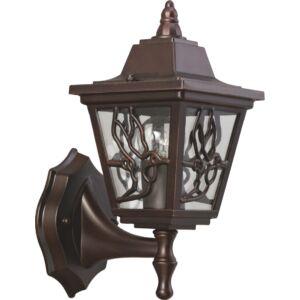 BOSTON - Klausen - Klasszikus, felfelé álló antik bronz, díszített kültéri fali lámpa - aluminium/üveg - antik bronz - IP44 - 1xE27, 1x11W LED