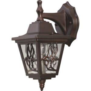 BOSTON - Klausen - Klasszikus, lefelé csüngő antik bronz, díszített kültéri fali lámpa - aluminium/üveg - antik bronz - IP44 - 1xE27, 1x11W LED