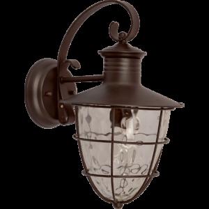 CLINTON - Klausen - Sötét, rácsos kültéri fali lámpa - fém/üveg - fekete/átlátszó - IP44 - 1xE27, 1x11W LED