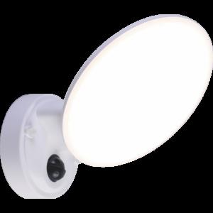 OSSETT - Klausen - Integrált LED, szenzoros, kör alakú kültéri fali lámpa - műanyag - fehér - IP44 - Integrált LED, 1x12W LED