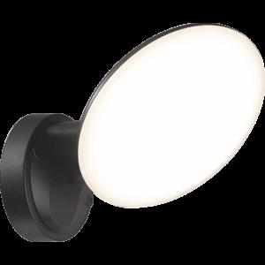 OSSETT - Klausen - Integrált LED, kör alakú kültéri fali lámpa - műanyag - fekete - IP44 - Integrált LED, 1x12W LED