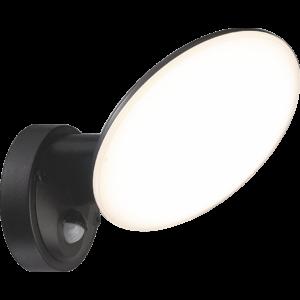 OSSETT - Klausen - Integrált LED, szenzoros, kör alakú kültéri fali lámpa - műanyag - fekete - IP44 - Integrált LED, 1x12W LED