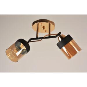 LASER - Klausen - 2 búrás, modern átlátszó borostyán falikar - üveg/fém - fekete/borostyán/réz - IP20 - 2xE27