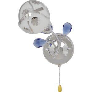 MACAU - Klausen - Virágmintás króm falikar kék díszítésekkel - üveg/fém/műanyag - fehér/króm/kék - IP20 - 1xE14