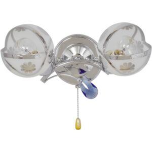 MACAU - Klausen - 2 búrás, virágmintás króm falikar kék díszítésekkel - üveg/fém/műanyag - fehér/króm/kék - IP20 - 2xE14