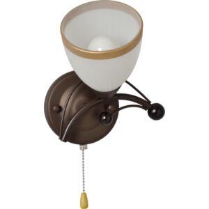 MANILA - Klausen - Klasszikus, arany szegéllyel díszített falikar - üveg/fém - fehér/arany/barna - IP20 - 1xE14