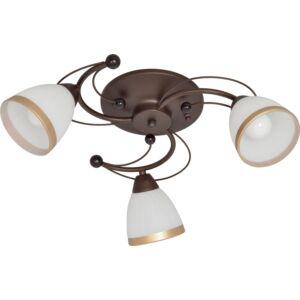 MANILA - Klausen - 3 búrás, klasszikus mennyezeti lámpa arany szegéllyel - üveg/fém - fehér/arany/barna - IP20 - 3xE14
