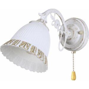 MERIDA - Klausen - Vintage, bordázott falikar arany díszítéssel és húzókapcsolóval - üveg/fém/fa - antik fehér/fa - IP20 - 1xE27, 1x11W