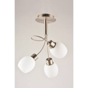 MILKY - Klausen - 3 búrás modern, egyszerű mennyezeti lámpa - üveg/fém - króm/fehér - IP20 - 3xE14
