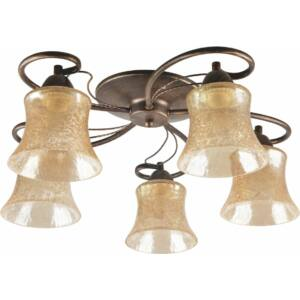 MARTA - Klausen - 5 búrás, klasszikus, borostyán színű mennyezeti lámpa - üveg/fém - barna/arany - IP20 - 5xE27, 5x11W