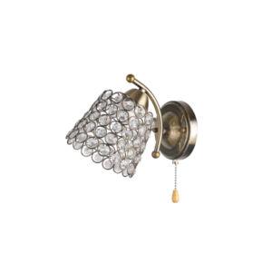 MYRNA - Klausen - Kristály hatású pöttyökkel díszített falikar húzókapcsolóval - üveg/fém - bronz - IP20 - 1xE27, 1x11W
