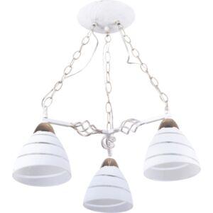 NOVARA - Klausen - 3 búrás vintage, fehér csíkos csillár - üveg/fém - fehér/arany - IP20 - 3xE27, 3x11W