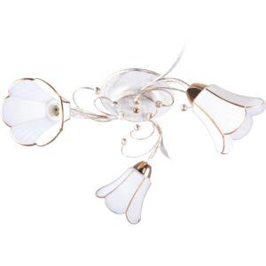 ODIN - Klausen - 3 búrás, vintage, virág alakú csillár arany díszítéssel - üveg/fém - antik fehér/arany - IP20 - 3xE27, 3x11W